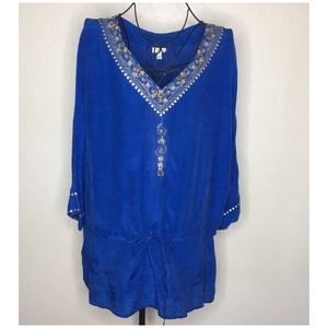 J. Jill rayon boho beaded sequin drawstring top